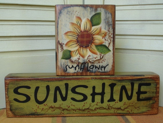 Primitive Sunflower Sunshine Summer Block Shelf Sitter Hand Painted Wood