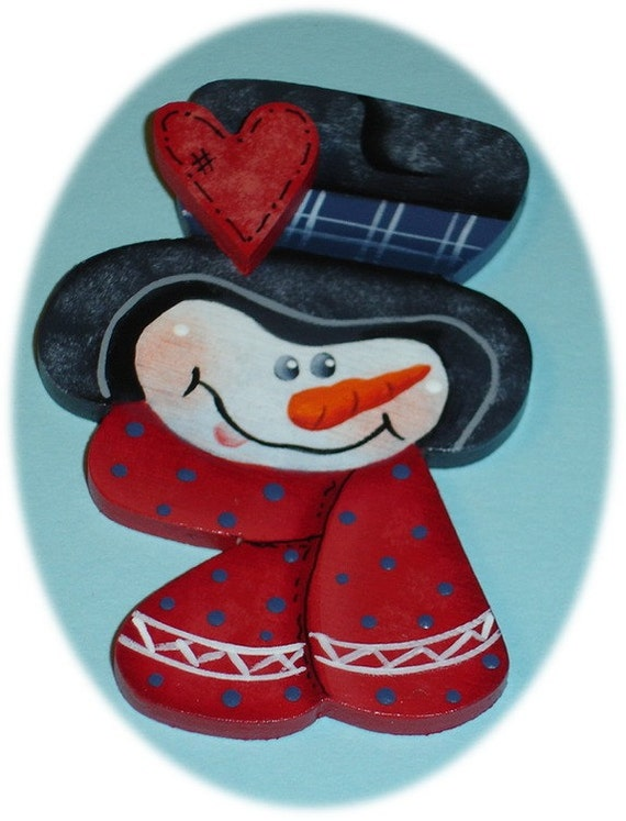 Snowman Pin or  Magnet Winter Christmas Hand Painted Wood