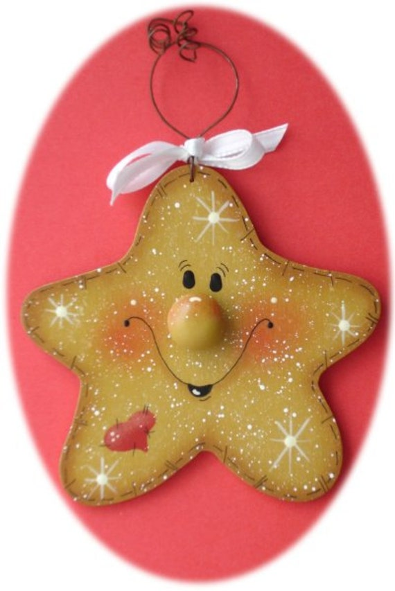 Star Christmas Ornament Hand Painted Wood