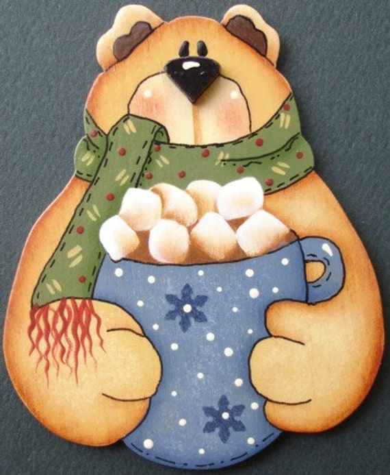 Bear Pin/Magnet Hot Chocolate Christmas Winter Hand Painted Wood