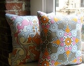 Cottage Chic Pillow in Pink, White, Orange and Warm Gray Tile Print : Turkish Tile