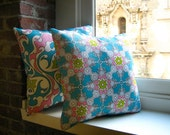Cottage Chic Pillow in Blue, Pink, Lime and White Print : Art Nouveau