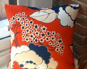 Designer Pillow in Rosetta : Liberty (Abstract Floral in Blue, Natural & White on Red)