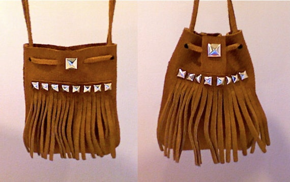 Small Brown Suede Studded Fringe Cross Body Satchel Purse