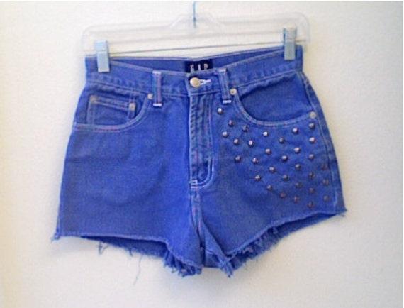 High Waisted Blue Studded Denim Shorts