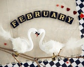 February dreamy calendar photograph whimsical art print love couple white swans scrabble letter sepia black soft color nursery decor checker