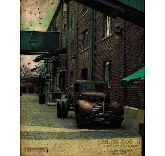 Photo Print - Retro Alley - car old vintage weathered style rustic wall decor dude gear man for him unisex vehicle steampunk brown dark