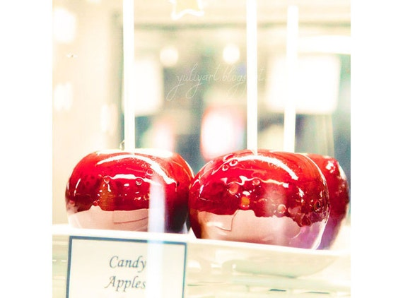 Candy Apples romantic photo print shabby chic glamor sweet wall art love gift home decor picture for her happy dark red heart fruit kitchen