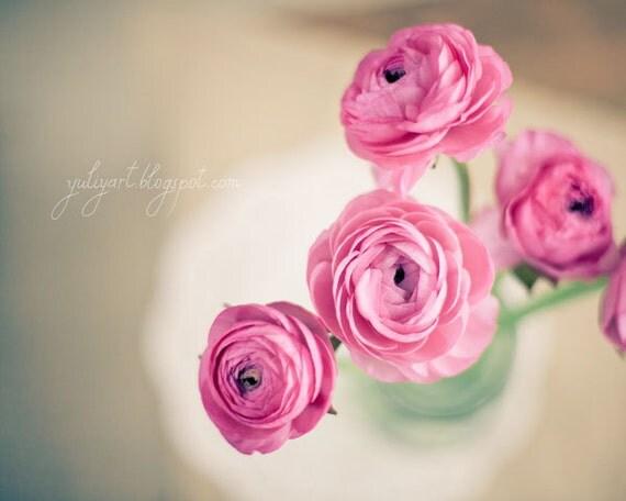 Morning Light - dreamy flower photography romantic gift for her ranunculus botanical nursery decor glamor luxury pale pink pastel purple