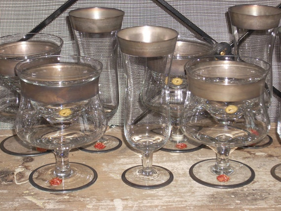 vintage ARCADIA crystal STEMWARE shaby chic champagne and shrimp cocktail glasses arcadia crystal handmade in rumania