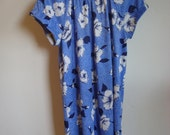 vintage dress // blue and white floral and polkadot dress