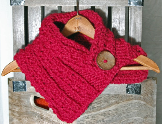 SALE One button NECK WARMER Scarf - Cranberry Red