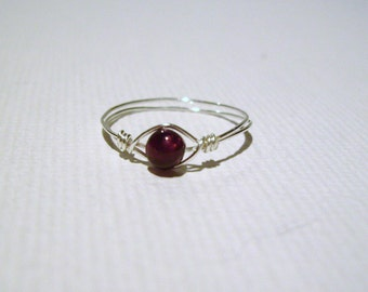 Delicate Garnet Ring stackable Pinkie/Child plated
