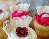 Gumpaste Flowers - Edible Cupcake Toppers- 36 Piece Princess Cake Decor Package -  Fancy Tea Party Sugar Blossoms and Large Sugar Ruffles