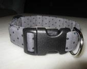 Gray Polka Dot Adjustable Dog Collar (Large)