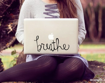 breathe large laptop decal