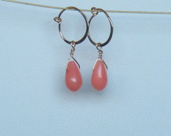 Coral tear drop and hand made14kt gold filled hoops