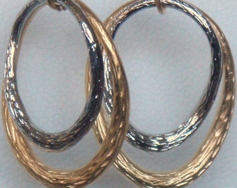 Twisted silver and gold earring every day jewelry