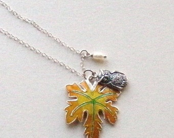 Stering silver Owl, sterling silver enamel leaf and a freshwater rice pearl, a love for the nature and the owl, gift