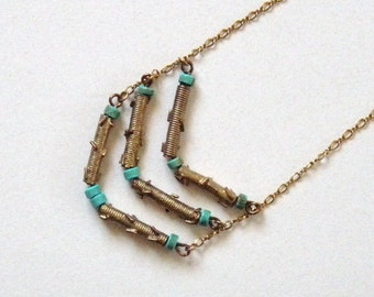 Chevron necklace, vintage brass tubes and turquoise beads