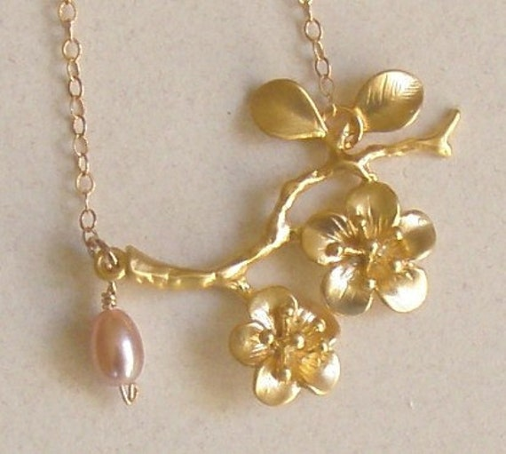 Tarnish Resistant Cherry Blossom , AA quality Pink fresh water pearl necklace