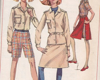 "Simplicity 7260 Shirt, Shorts and Side-Wrap Skirt Pattern, Size 12, Bust 32"", UNCUT"