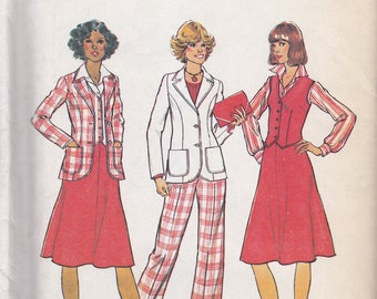 "Simplicity 7376 Unlined Jacket, Vest, Skirt and Pants Pattern, Size 12, Bust 34"", UNCUT"