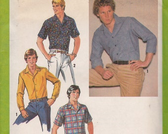"Simplicity 8944 Size 40, Neck 15 1/2"",Men's Shirt Pattern, UNCUT, Vintage Pattern, 1970's, Short or Long Sleeve Button Down Shirt"