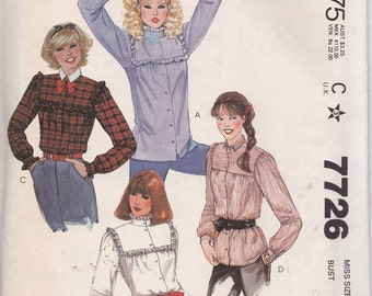 McCall's 7726 Misses' Blouse Pattern, Size 6, Bust 30 1/2