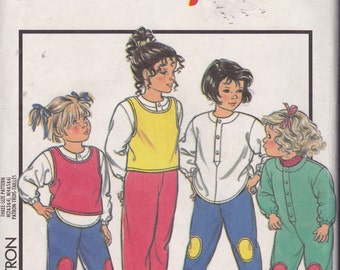 Style 4945, Size 4-5-6, Child's Dungarees, Pullover Top, Trousers and Vest Top Pattern, UNCUT, Play Clothes, Vintage Pattern, Outside Wear