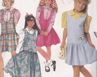 Simplicity 9726 Girl's Jumper in Two-Lengths and Blouse Pattern, UNCUT, Size 7-14