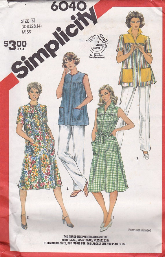 Simplicity 6040 Smock Pattern, House Dress, House Coat,  UNCUT, Size 10, 12, 14