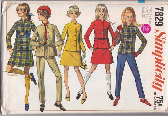 Simplicity 7829 Skirt, Jacket and Pants Pattern, UNCUT, SIze Young Junior/Teen 11-12, Bust 32