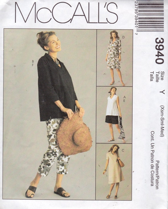 McCall's 3940 Misses'/Miss Petite Maternity Dress, Top, Pants and Shorts Pattern, UNCUT, Size xsm, sml, med
