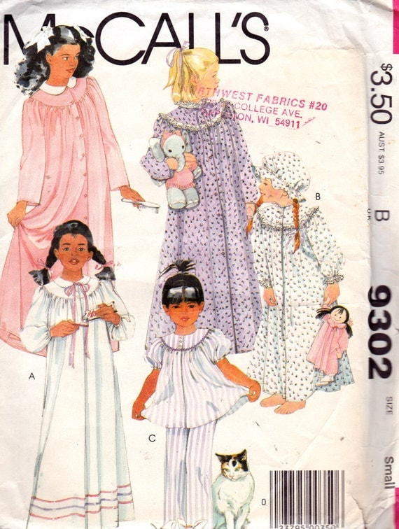 McCall's 9302 Children's Nightgown, Pajamas, Robe and Cap Pattern, UNCUT, Size Small