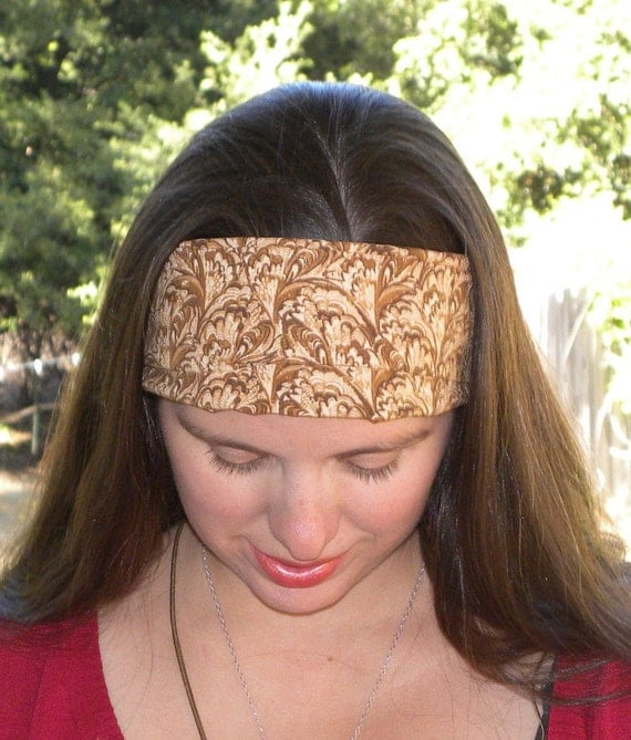 Brown Cotton Extra Wide Headband Convertible Headcovering Scarf