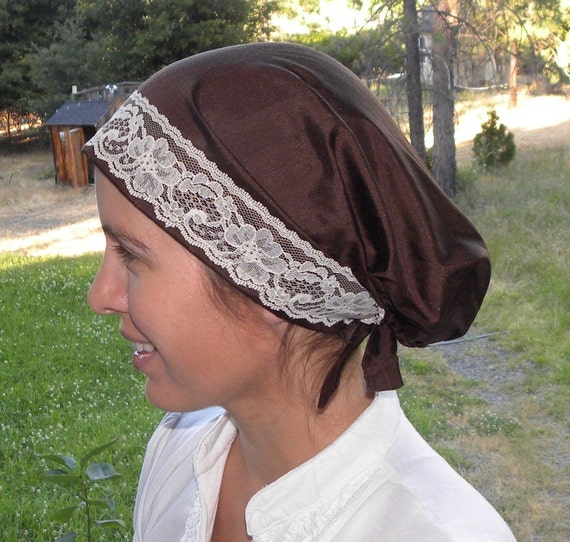 Chocolate Brown Dupioni Snood with Ivory Lace Trim