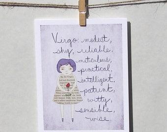 Virgo card Astrology card Zodiac card Astrological sign card
