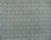 RESERVED - Julie - Vintage Fabric - Steel Blue Fan Shell Patterned Lightweight Upholstery 33x31cm Pieces