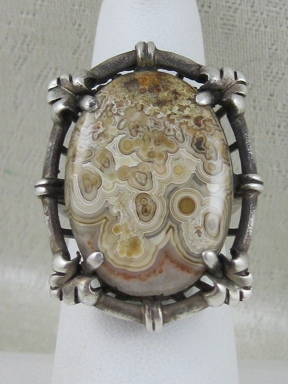 Big Arts and Crafts Era Sterling Crazy Lace Agate Ring Size 7