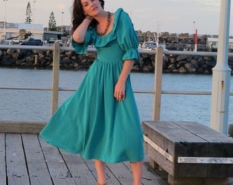 REDUCED.....REDUCED.......1980's teal blue Frilled friday frock (handmade)