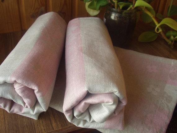TOWEL Bath Sheet Gray Pink Linen Handmade New - ready to send