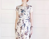 1950s Floral Modern Art Print Dress - Medium