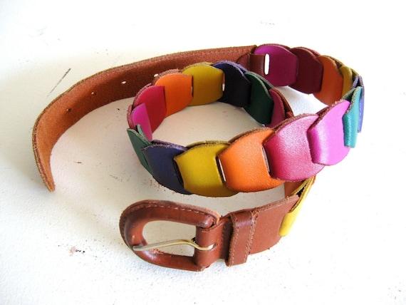 Vintage Braided Leather Belt, Links of Rainbow