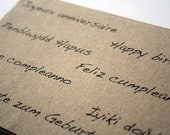 Birthday postcards - multilingual cards - typography - recycled kraft paper