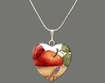 Apple Barrel Glass Heart Pendant