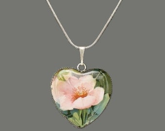Wild Rose Glass Heart Pendant