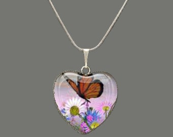 Butterfly Floral Glass Heart Pendant