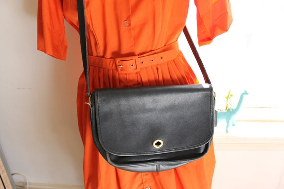 Vintage COACH Purse, c. 1970s, Black Leather