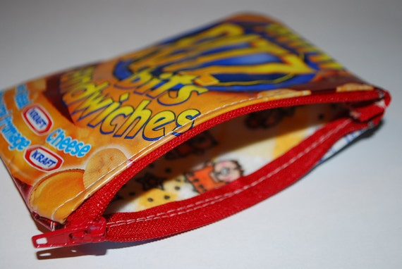 Mini Ritz Bits Sandwich Wallet Made From A Recycled Wrapper - FREE SHIPPING canada & usa